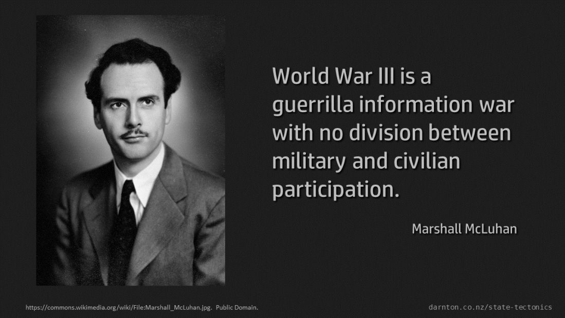 ผลการค้นหารูปภาพสำหรับ World War III is a guerrilla information war with no division between military and civilian participation